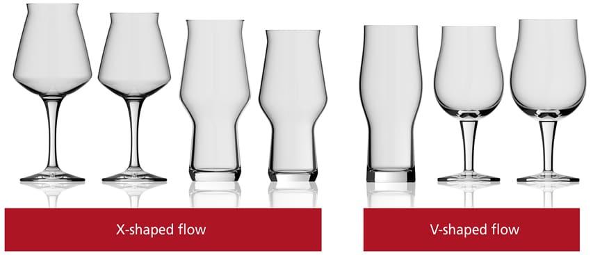 de vier Craft glazen