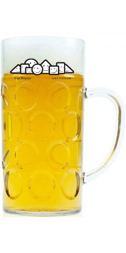 Grote bierpullen met een bedrukt logo
